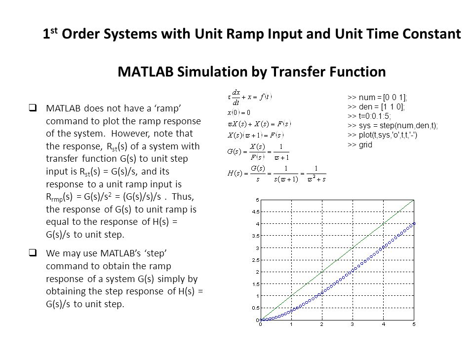 1 st Order Systems with Unit Ramp Input and Unit Time Constant MATLAB Simulation by Transfer Function  MATLAB does not have a 'ramp' command to plot the ramp response of the system.