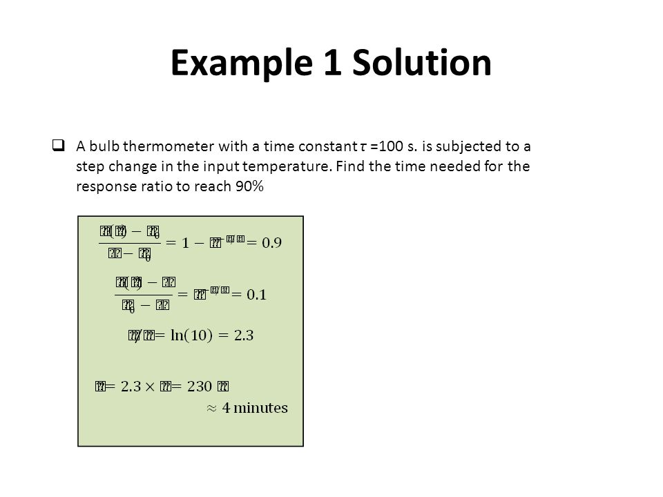 Example 1 Solution  A bulb thermometer with a time constant τ =100 s.
