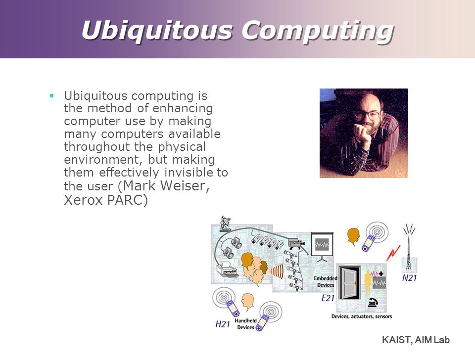 KAIST, AIM Lab Ubiquitous Computing  Ubiquitous computing is the method of enhancing computer use by making many computers available throughout the physical environment, but making them effectively invisible to the user ( Mark Weiser, Xerox PARC)