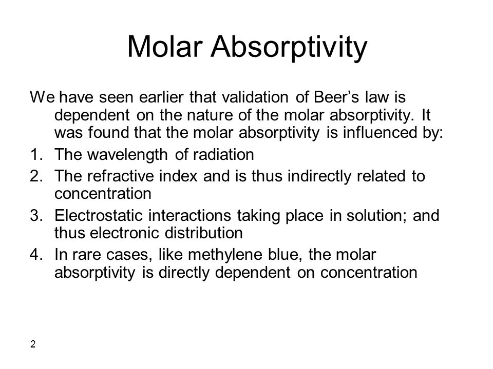 43 Quantitative Analysis The basis for quantitative analysis in the UV- Vis relies on Beer's law.