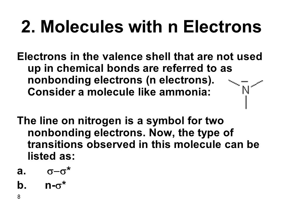 19 Conclusions on Electronic Transitions There are four different types of electronic transitions which can take place in molecules when they absorb UV-Vis radiation.