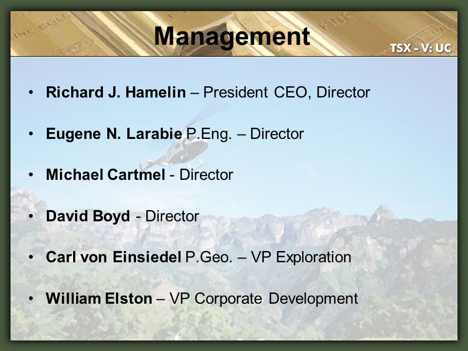 Summary Winning Management track record UC is currently trading at lower market capitalization comparables to other Canadian exploration companies Project location: Heart of the prolific Sierra Madre mining belt Phase 1 returned bonanza grade gold and silver results and are to be followed up in Phase 2