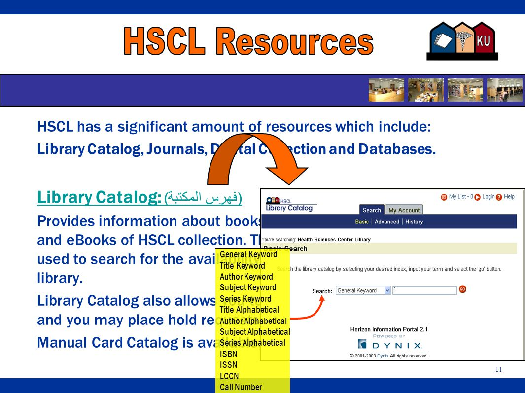 11 HSCL has a significant amount of resources which include: Library Catalog, Journals, Digital Collection and Databases.