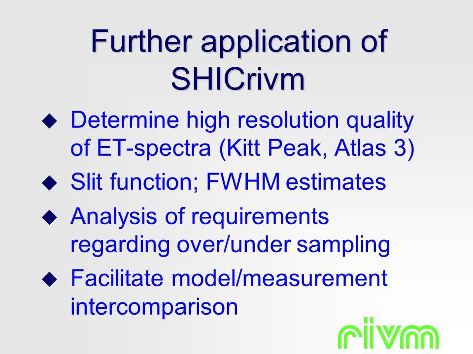 Further application of SHICrivm  Determine high resolution quality of ET-spectra (Kitt Peak, Atlas 3)  Slit function; FWHM estimates  Analysis of r
