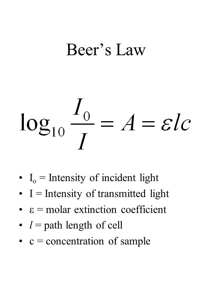Beer's Law I o = Intensity of incident light I = Intensity of transmitted light  = molar extinction coefficient l = path length of cell c = concentration of sample
