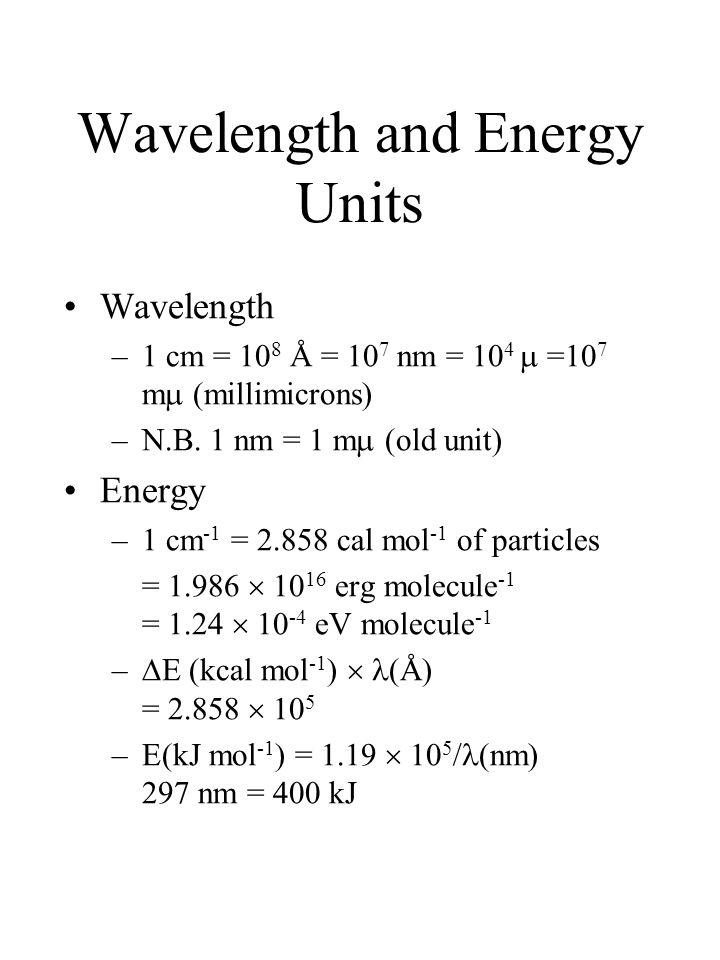 Wavelength and Energy Units Wavelength –1 cm = 10 8 Å = 10 7 nm = 10 4  =10 7 m  (millimicrons) –N.B. 1 nm = 1 m  (old unit) Energy –1 cm -1 = 2.85