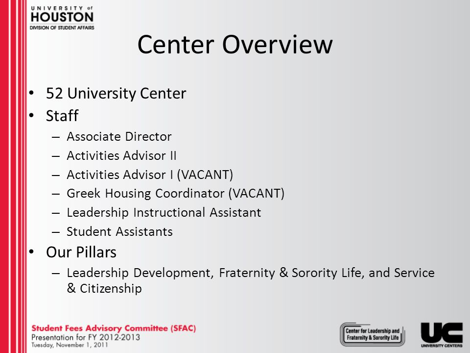 Center Overview 52 University Center Staff – Associate Director – Activities Advisor II – Activities Advisor I (VACANT) – Greek Housing Coordinator (VACANT) – Leadership Instructional Assistant – Student Assistants Our Pillars – Leadership Development, Fraternity & Sorority Life, and Service & Citizenship