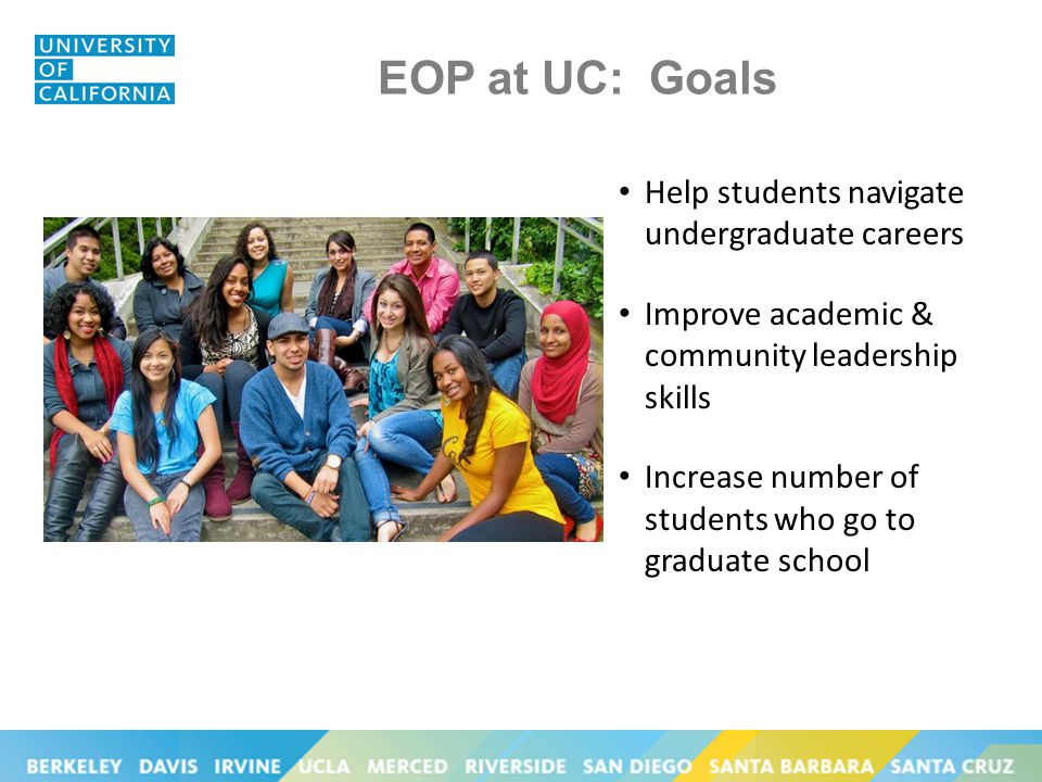 EOP at UC: Goals Help students navigate undergraduate careers Improve academic & community leadership skills Increase number of students who go to graduate school