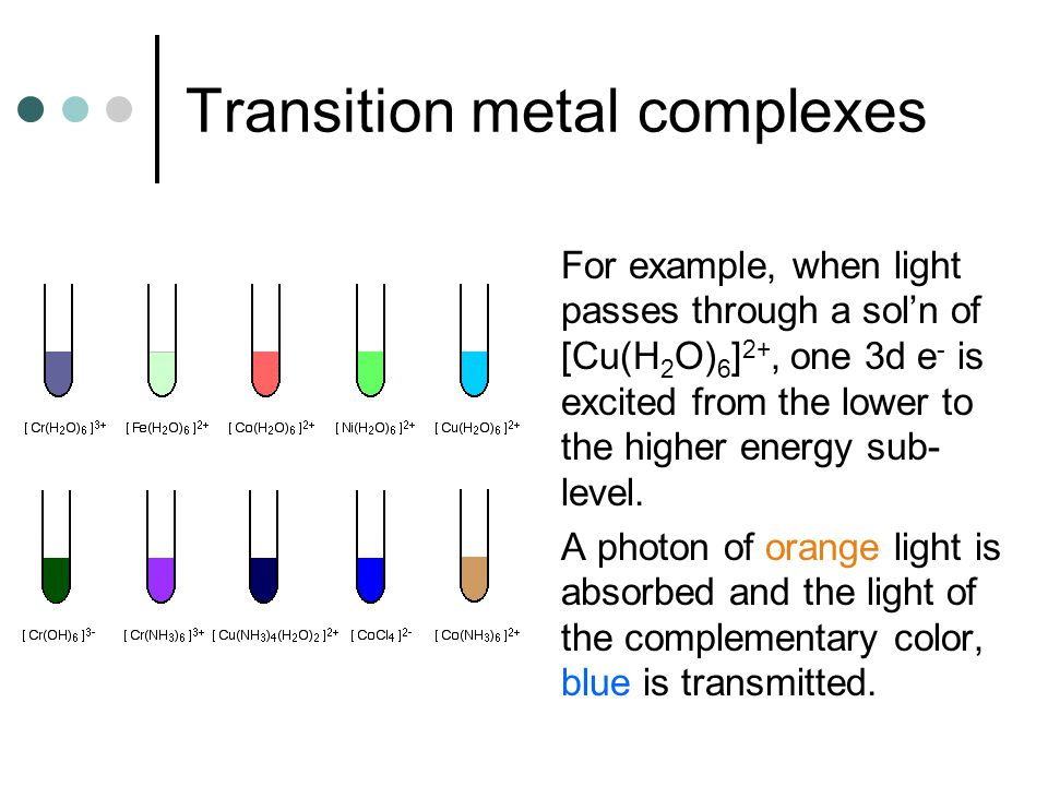 Transition metal complexes For example, when light passes through a sol'n of [Cu(H 2 O) 6 ] 2+, one 3d e - is excited from the lower to the higher ene