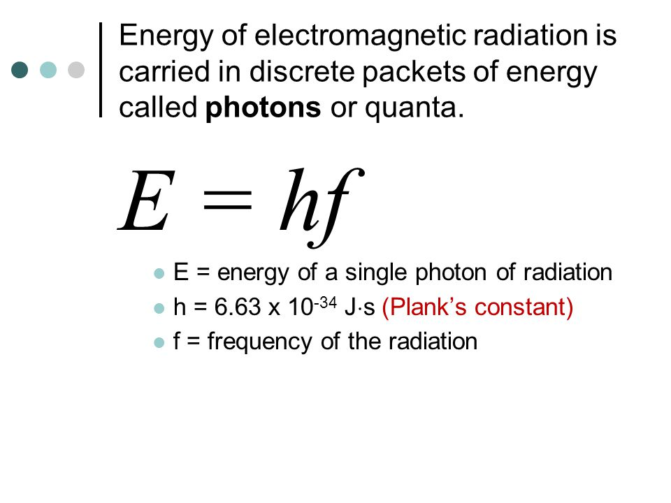 Energy of electromagnetic radiation is carried in discrete packets of energy called photons or quanta. E = hf E = energy of a single photon of radiati