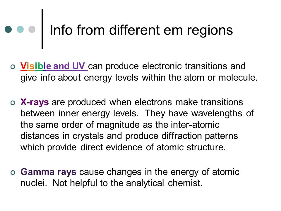 Info from different em regions Visible and UV can produce electronic transitions and give info about energy levels within the atom or molecule. X-rays