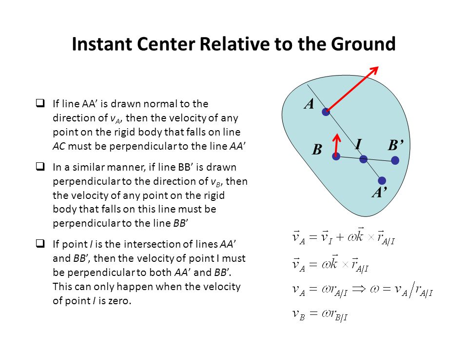 Instant Center Relative to the Ground  If line AA' is drawn normal to the direction of v A, then the velocity of any point on the rigid body that falls on line AC must be perpendicular to the line AA'  In a similar manner, if line BB' is drawn perpendicular to the direction of v B, then the velocity of any point on the rigid body that falls on this line must be perpendicular to the line BB'  If point I is the intersection of lines AA' and BB', then the velocity of point I must be perpendicular to both AA' and BB'.