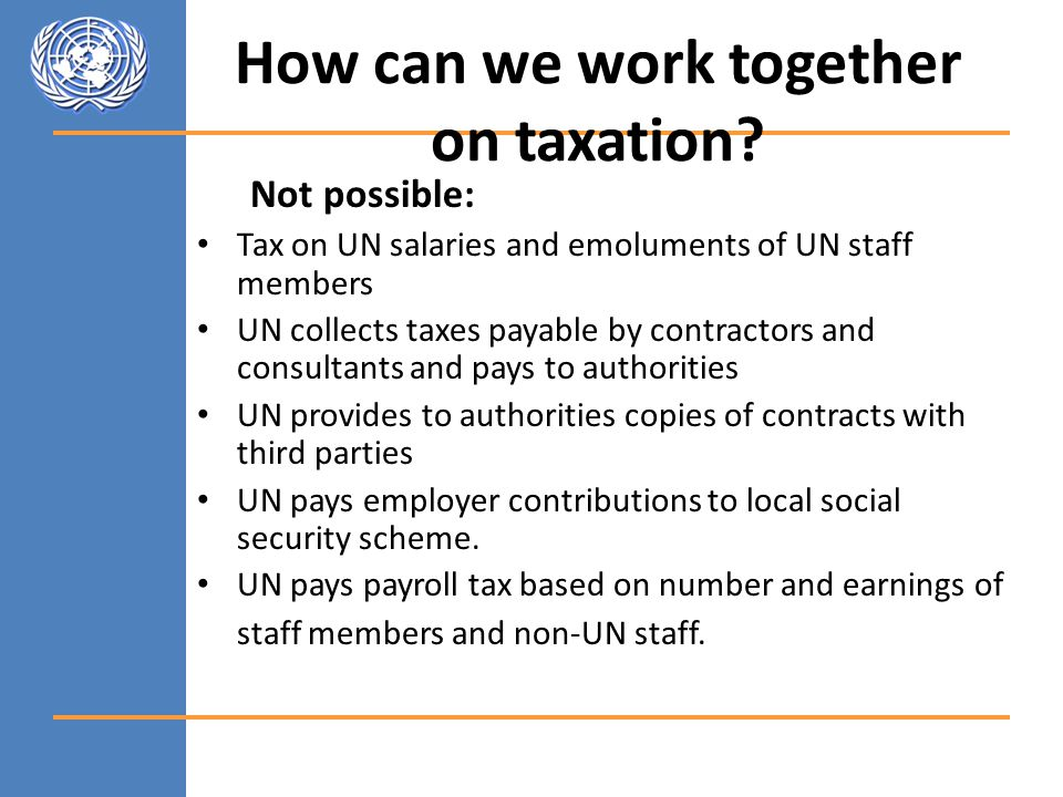 How can we work together on taxation.