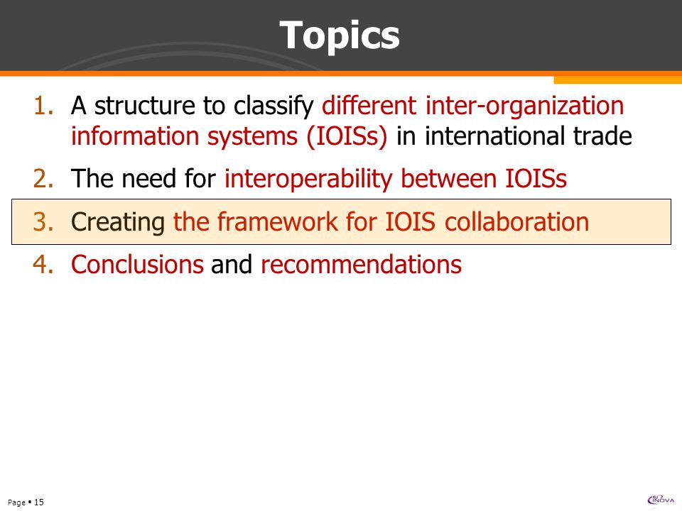 Page  15 Topics 1.A structure to classify different inter-organization information systems (IOISs) in international trade 2.The need for interoperability between IOISs 3.Creating the framework for IOIS collaboration 4.Conclusions and recommendations