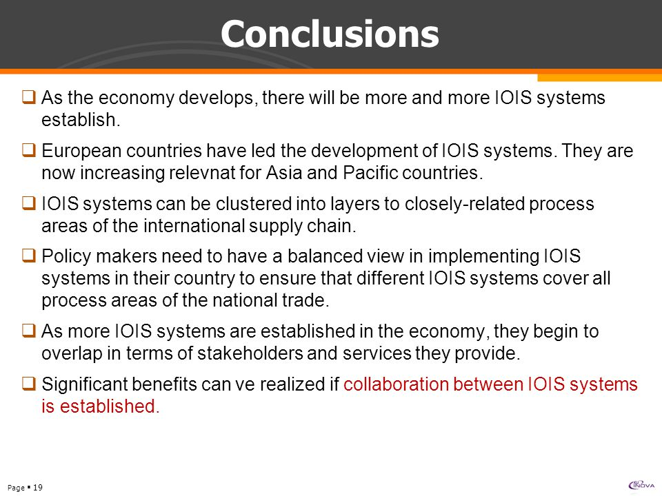 Page  19 Conclusions  As the economy develops, there will be more and more IOIS systems establish.