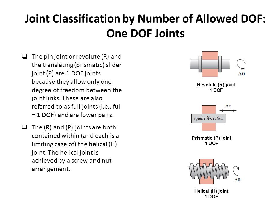 Joint Classification by Number of Allowed DOF: One DOF Joints  The pin joint or revolute (R) and the translating (prismatic) slider joint (P) are 1 DOF joints because they allow only one degree of freedom between the joint links.