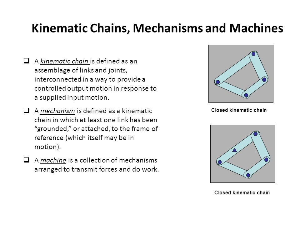 Kinematic Chains, Mechanisms and Machines  A kinematic chain is defined as an assemblage of links and joints, interconnected in a way to provide a controlled output motion in response to a supplied input motion.