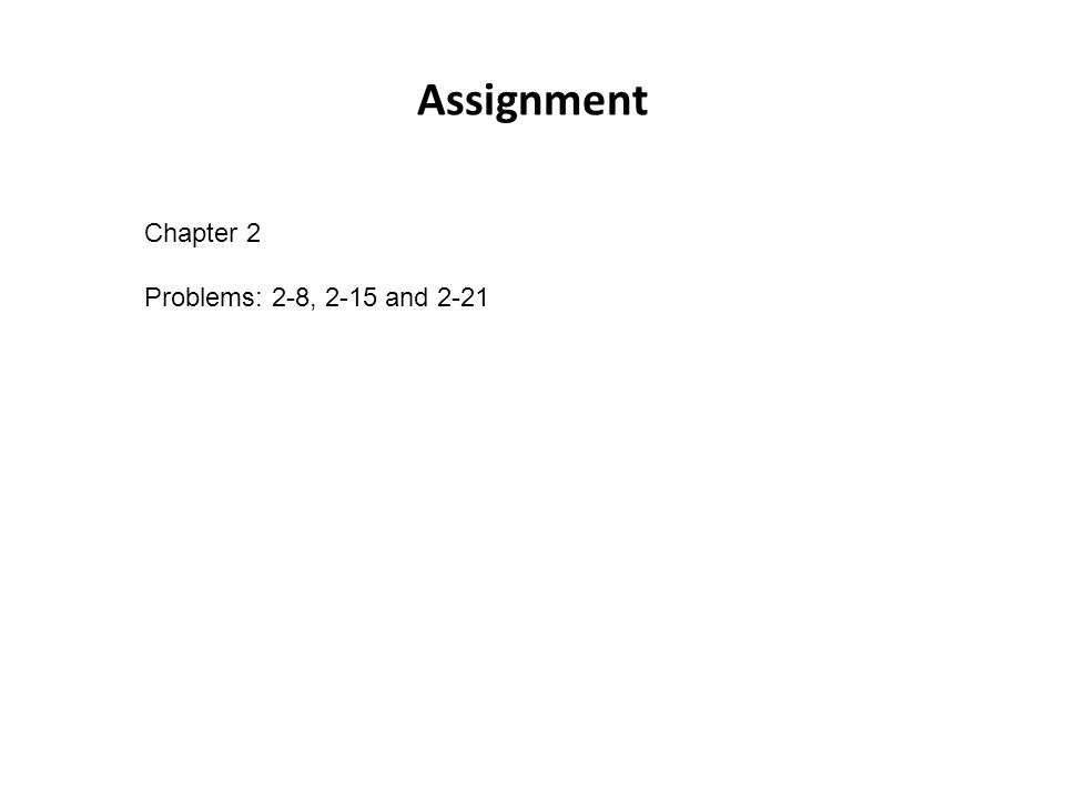 Assignment Chapter 2 Problems: 2-8, 2-15 and 2-21