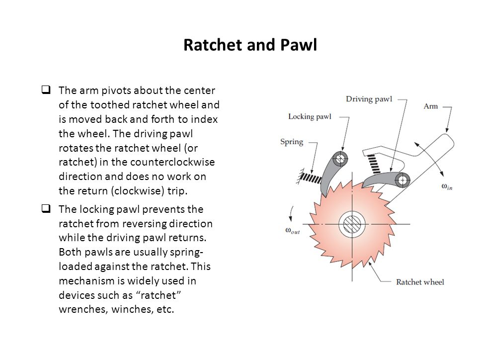 Ratchet and Pawl  The arm pivots about the center of the toothed ratchet wheel and is moved back and forth to index the wheel. The driving pawl rotat