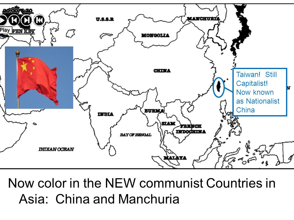 Now color in the NEW communist Countries in Asia: China and Manchuria Taiwan.