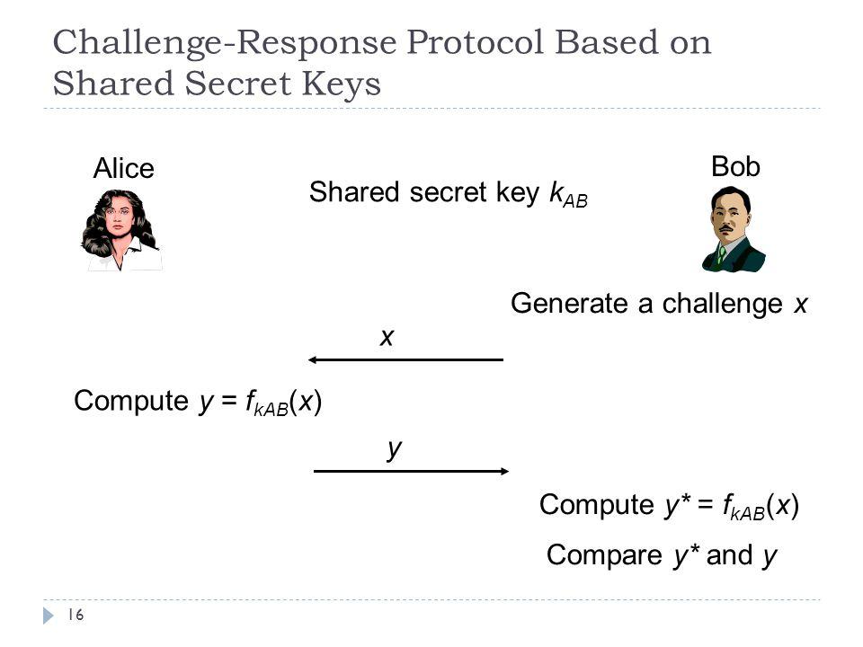 Challenge-Response Protocol Based on Shared Secret Keys 16 Alice Bob Shared secret key k AB Generate a challenge x x Compute y = f kAB (x) y Compute y