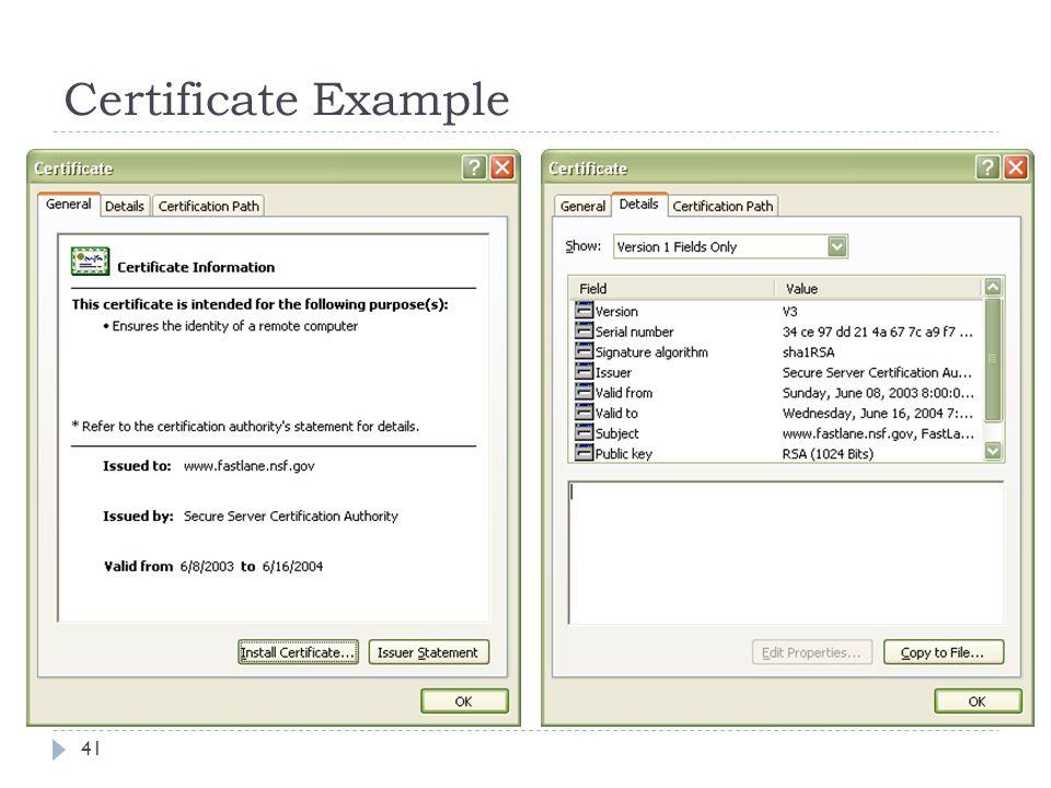 Certificate Example 41