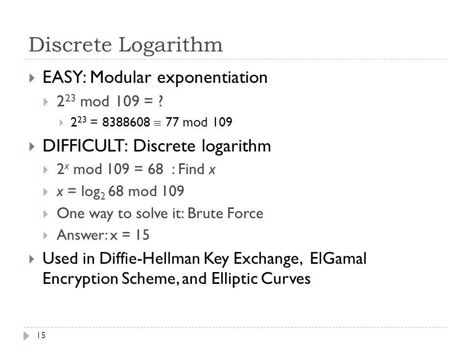 Discrete Logarithm 15  EASY: Modular exponentiation  2 23 mod 109 = .