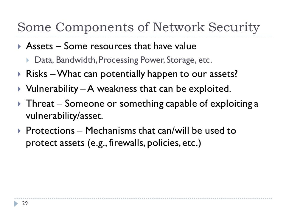 Some Components of Network Security 29  Assets – Some resources that have value  Data, Bandwidth, Processing Power, Storage, etc.  Risks – What can