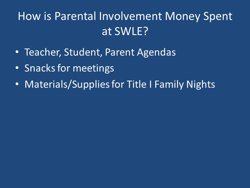 How is Parental Involvement Money Spent at SWLE? Teacher, Student, Parent Agendas Snacks for meetings Materials/Supplies for Title I Family Nights