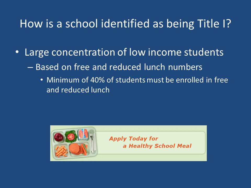 How is a school identified as being Title I? Large concentration of low income students – Based on free and reduced lunch numbers Minimum of 40% of st
