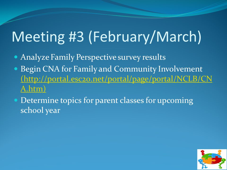 Meeting #3 (February/March) Analyze Family Perspective survey results Begin CNA for Family and Community Involvement (http://portal.esc20.net/portal/p
