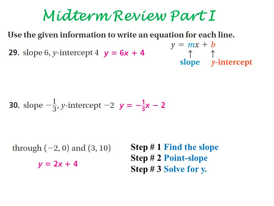 Step # 1 Find the slope Step # 2 Point-slope Step # 3 Solve for y.