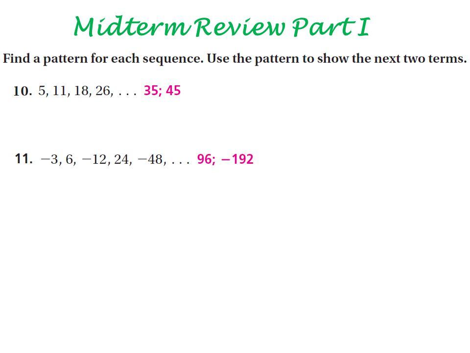 Midterm Review Part I
