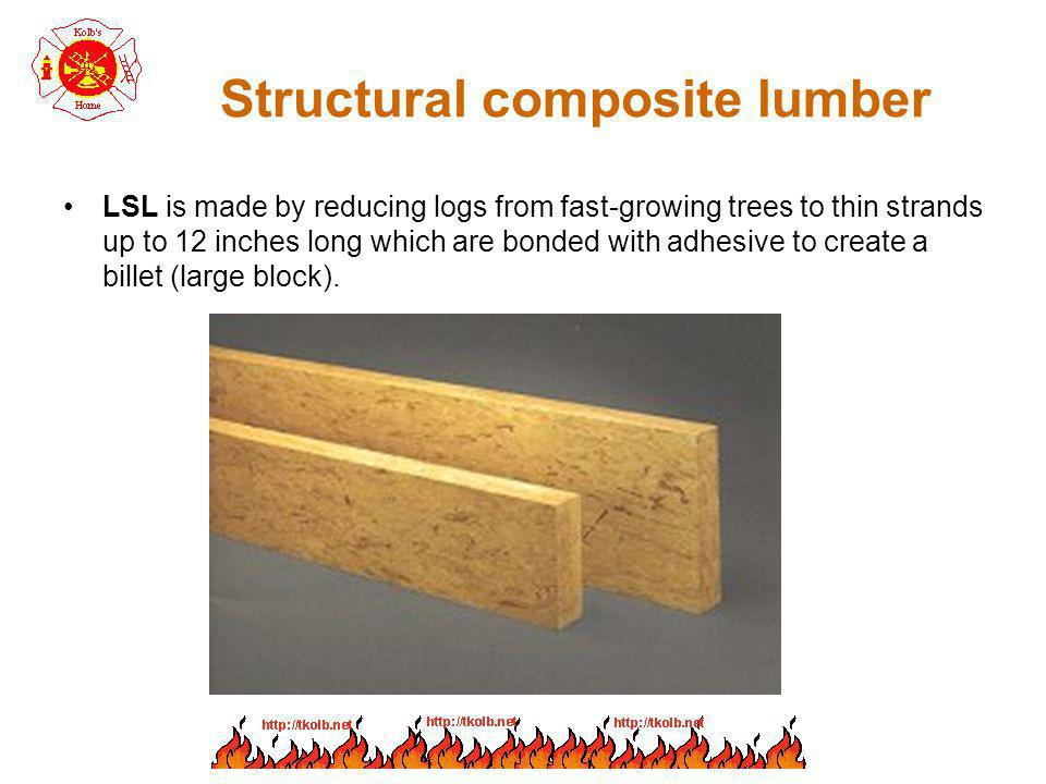 Structural composite lumber LSL is made by reducing logs from fast-growing trees to thin strands up to 12 inches long which are bonded with adhesive t