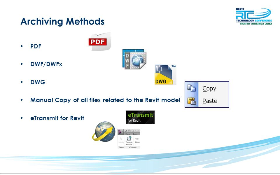 Archiving Methods PDF DWF/DWFx DWG Manual Copy of all files related to the Revit model eTransmit for Revit