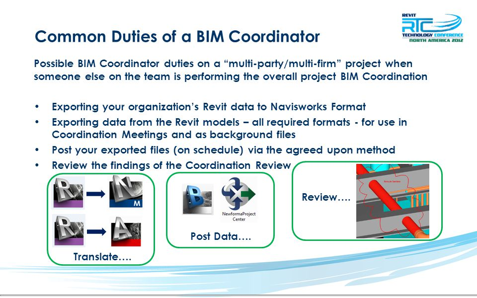 "Common Duties of a BIM Coordinator Possible BIM Coordinator duties on a ""multi-party/multi-firm"" project when someone else on the team is performing t"