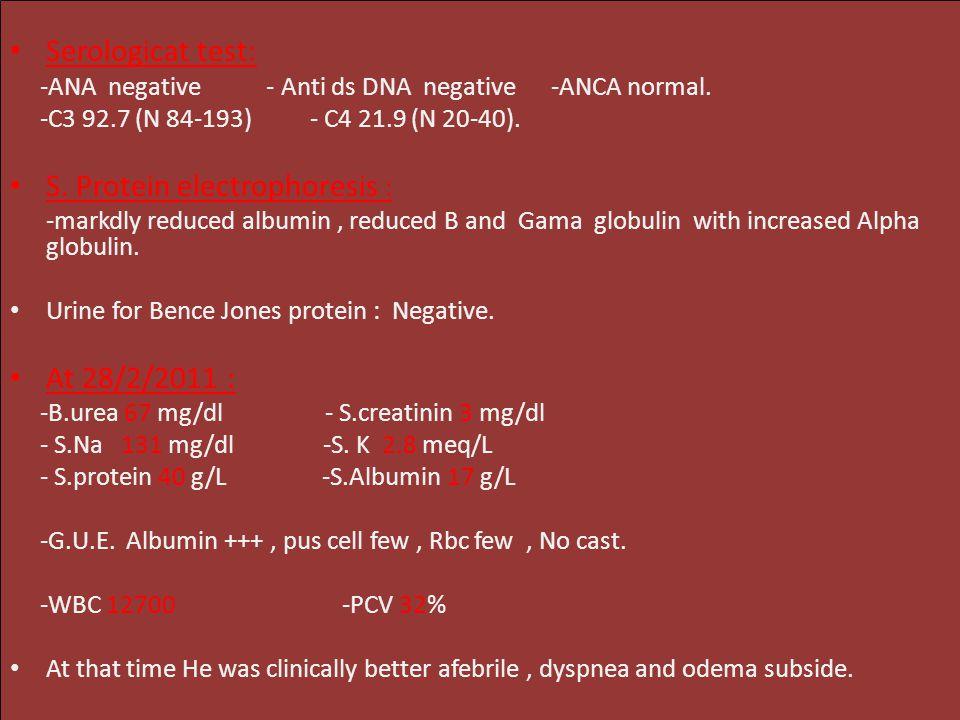 Serologicat test: -ANA negative - Anti ds DNA negative -ANCA normal.