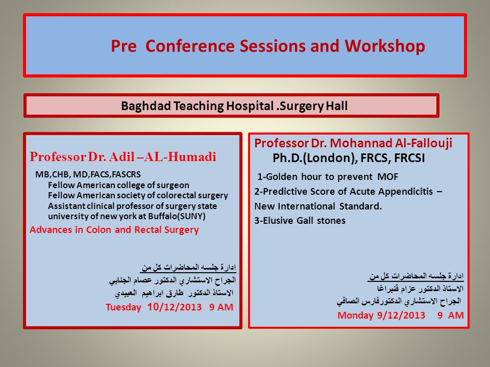 Pre Conference Sessions and Workshop Professor Dr.
