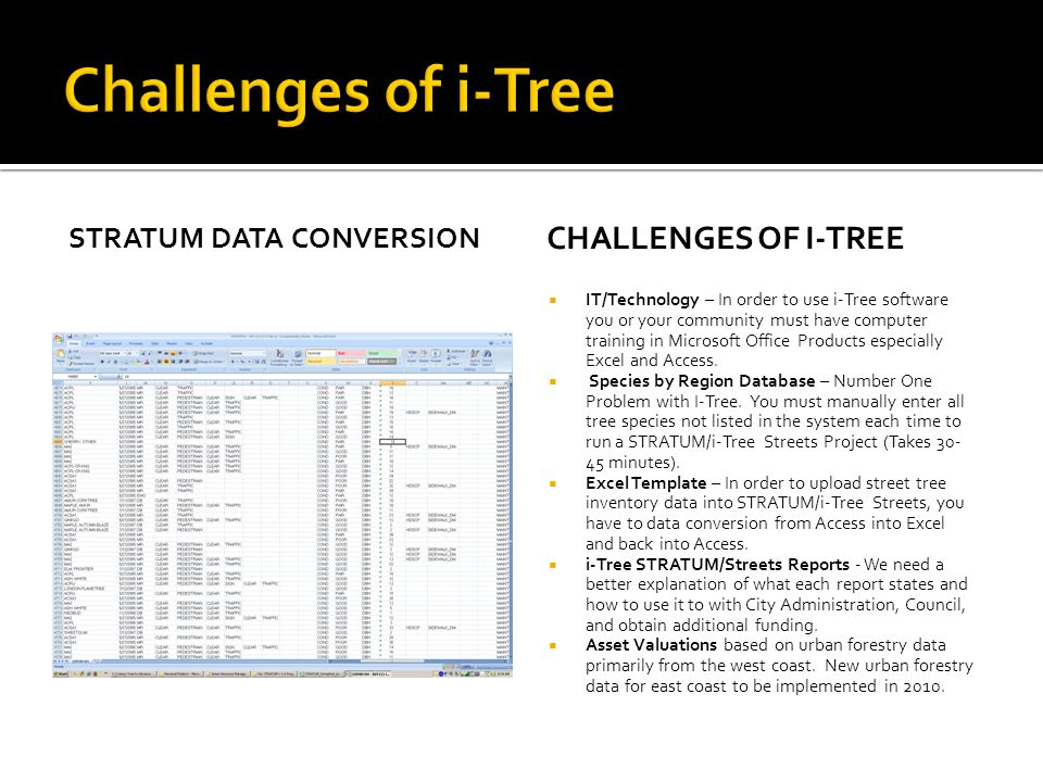 STRATUM DATA CONVERSION CHALLENGES OF I-TREE  IT/Technology – In order to use i-Tree software you or your community must have computer training in Mi