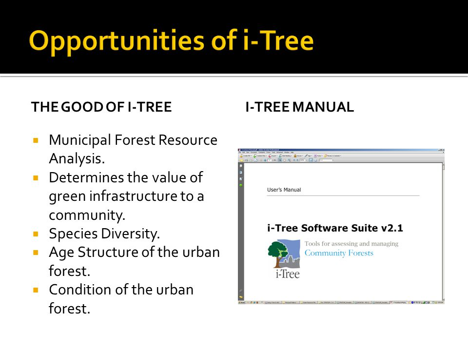 THE GOOD OF I-TREE  Municipal Forest Resource Analysis.  Determines the value of green infrastructure to a community.  Species Diversity.  Age Str