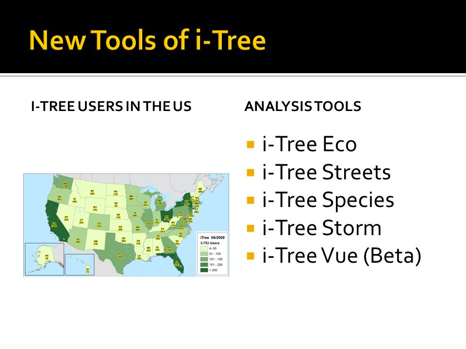 I-TREE USERS IN THE USANALYSIS TOOLS  i-Tree Eco  i-Tree Streets  i-Tree Species  i-Tree Storm  i-Tree Vue (Beta)