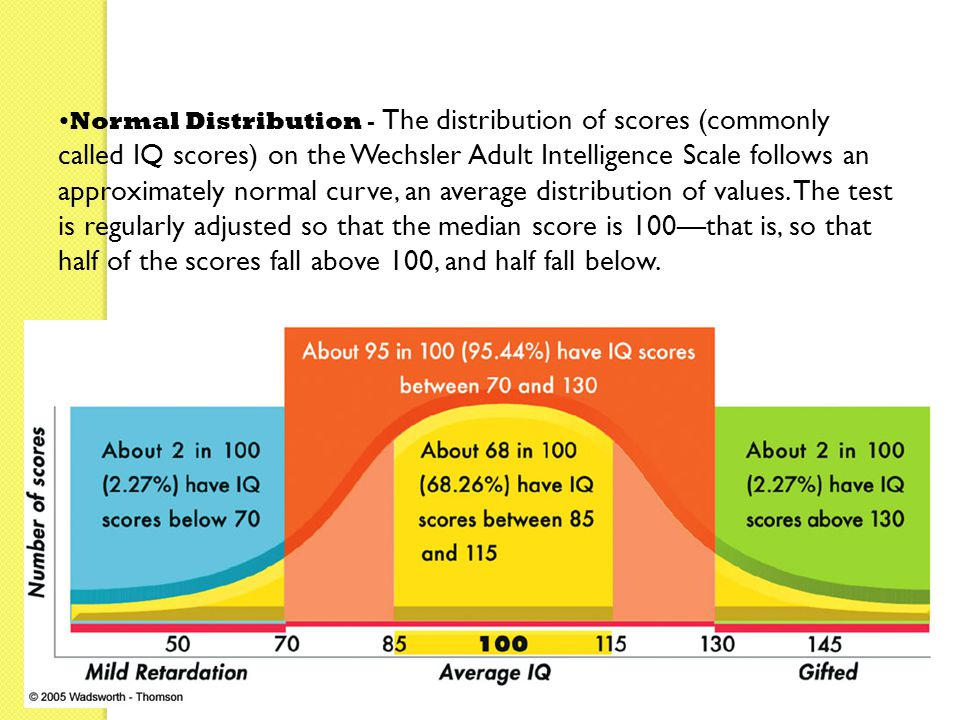 Normal Distribution - The distribution of scores (commonly called IQ scores) on the Wechsler Adult Intelligence Scale follows an approximately normal