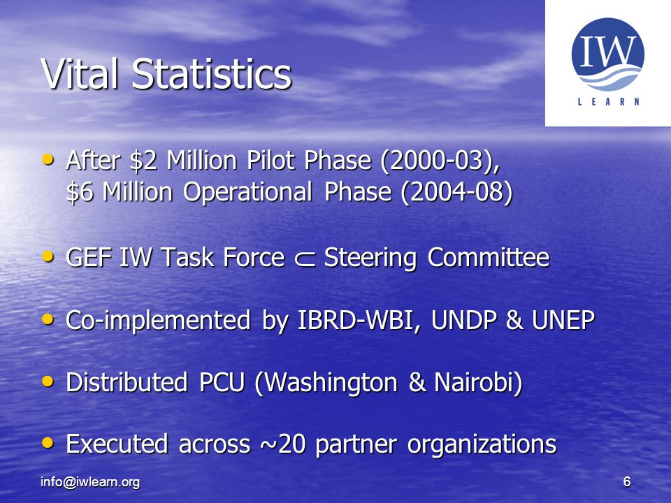 6 Vital Statistics After $2 Million Pilot Phase (2000-03), $6 Million Operational Phase (2004-08) After $2 Million Pilot Phase (2000-03), $6 Million Operational Phase (2004-08) GEF IW Task Force  Steering Committee GEF IW Task Force  Steering Committee Co-implemented by IBRD-WBI, UNDP & UNEP Co-implemented by IBRD-WBI, UNDP & UNEP Distributed PCU (Washington & Nairobi) Distributed PCU (Washington & Nairobi) Executed across ~20 partner organizations Executed across ~20 partner organizations