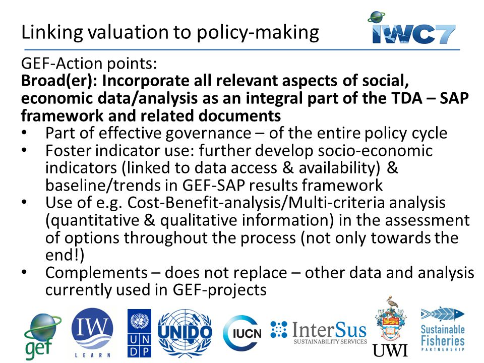 GEF-Action points: Broad(er): Incorporate all relevant aspects of social, economic data/analysis as an integral part of the TDA – SAP framework and re