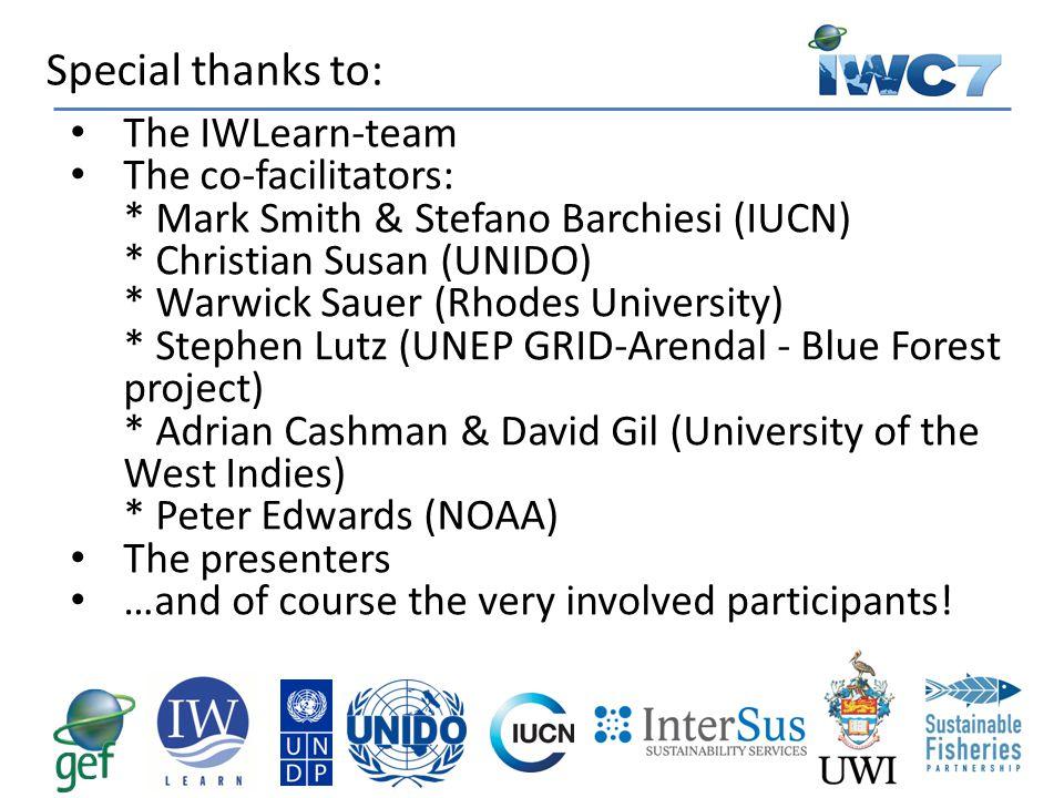 The IWLearn-team The co-facilitators: * Mark Smith & Stefano Barchiesi (IUCN) * Christian Susan (UNIDO) * Warwick Sauer (Rhodes University) * Stephen