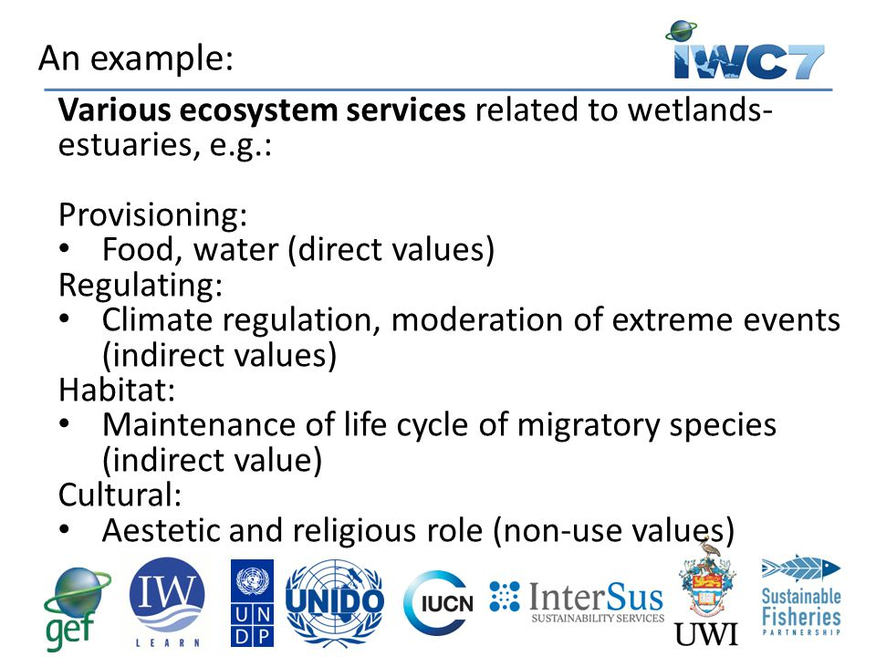 Various ecosystem services related to wetlands- estuaries, e.g.: Provisioning: Food, water (direct values) Regulating: Climate regulation, moderation