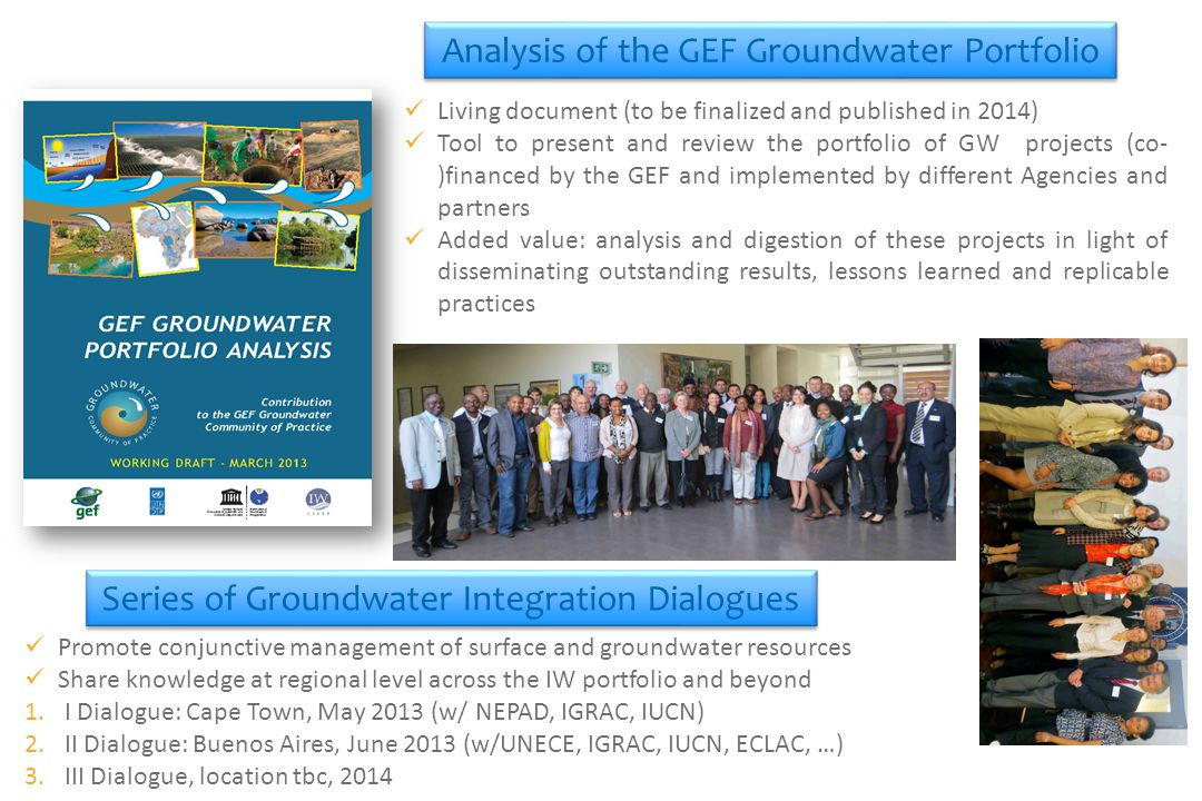 Living document (to be finalized and published in 2014) Tool to present and review the portfolio of GW projects (co- )financed by the GEF and implemented by different Agencies and partners Added value: analysis and digestion of these projects in light of disseminating outstanding results, lessons learned and replicable practices Series of Groundwater Integration Dialogues Promote conjunctive management of surface and groundwater resources Share knowledge at regional level across the IW portfolio and beyond 1.I Dialogue: Cape Town, May 2013 (w/ NEPAD, IGRAC, IUCN) 2.II Dialogue: Buenos Aires, June 2013 (w/UNECE, IGRAC, IUCN, ECLAC, …) 3.III Dialogue, location tbc, 2014 Analysis of the GEF Groundwater Portfolio