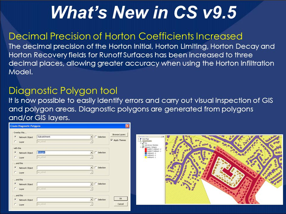 Decimal Precision of Horton Coefficients Increased The decimal precision of the Horton Initial, Horton Limiting, Horton Decay and Horton Recovery fields for Runoff Surfaces has been increased to three decimal places, allowing greater accuracy when using the Horton Infiltration Model.