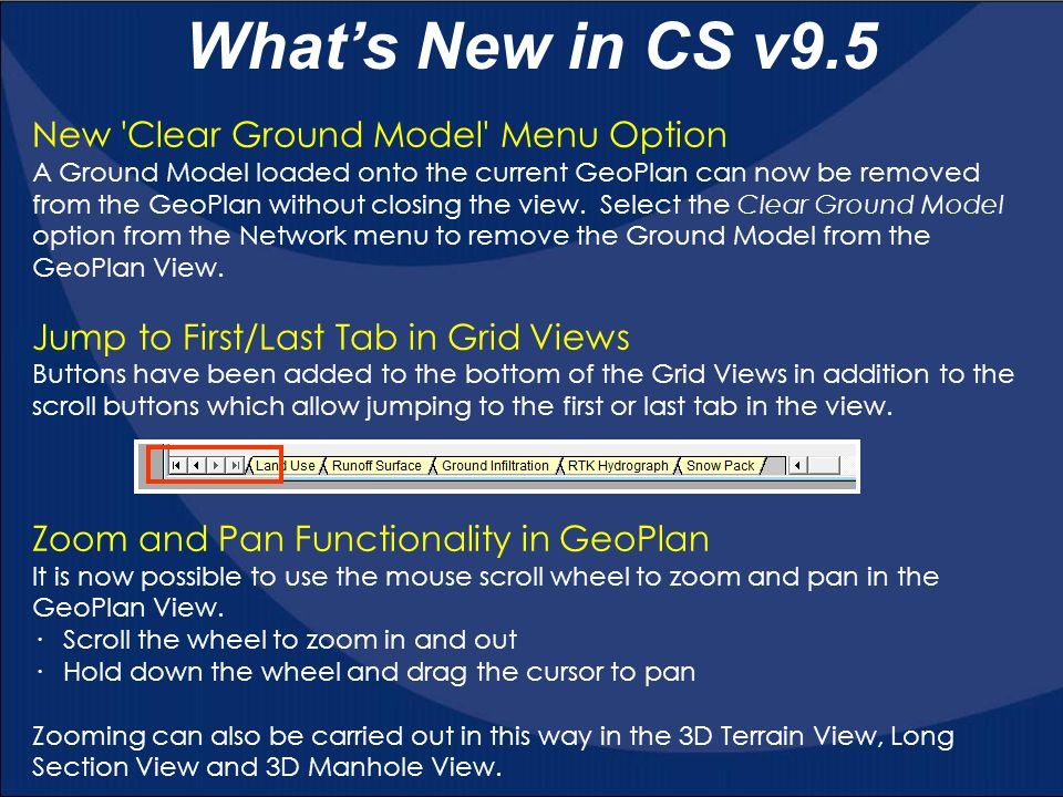 New Clear Ground Model Menu Option A Ground Model loaded onto the current GeoPlan can now be removed from the GeoPlan without closing the view.