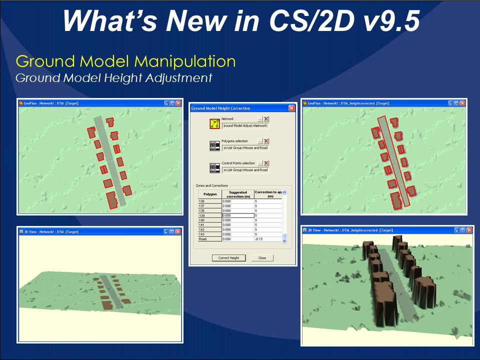 Ground Model Manipulation Ground Model Height Adjustment What's New in CS/2D v9.5